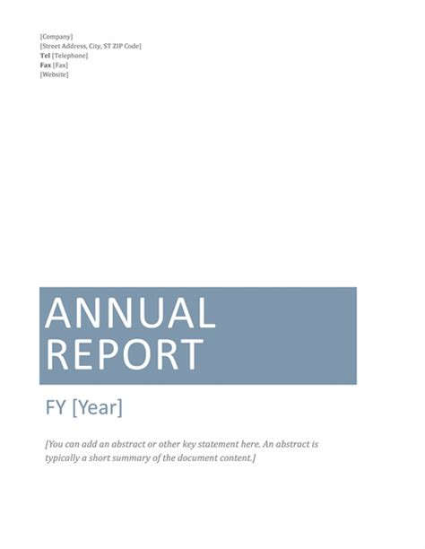 Annual Business Report Template annual financial report template microsoft word templates