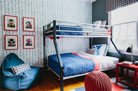 boys bedroom wallpaper colorful pattern filled shared boys bedroom 2014 hgtv