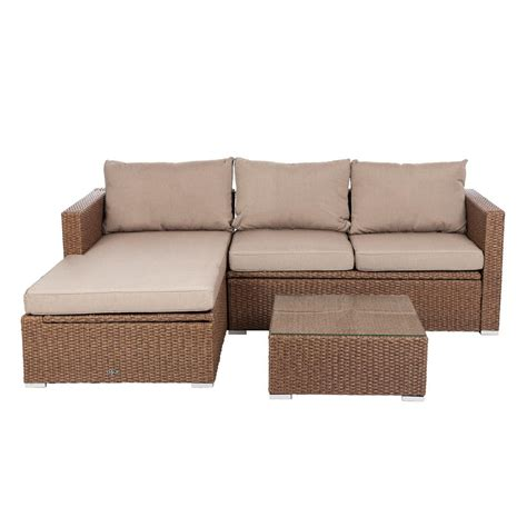 Patio Sense Tristano 3 Piece Wicker Outdoor Sofa Set with