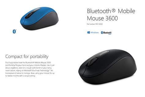 microsoft bluetooth mobile mouse 3600 blue pn7 00025