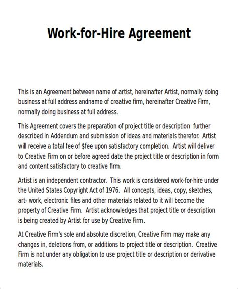 work for hire agreement template work release form sle 9 exles in word pdf