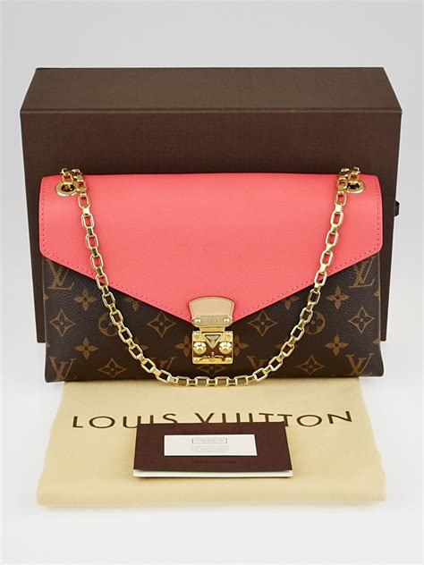 louis vuitton rose litchi monogram canvas pallas chain bag