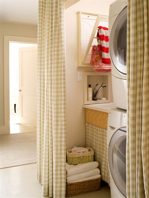 utility room curtains gingham curtains cottage laundry room bhg