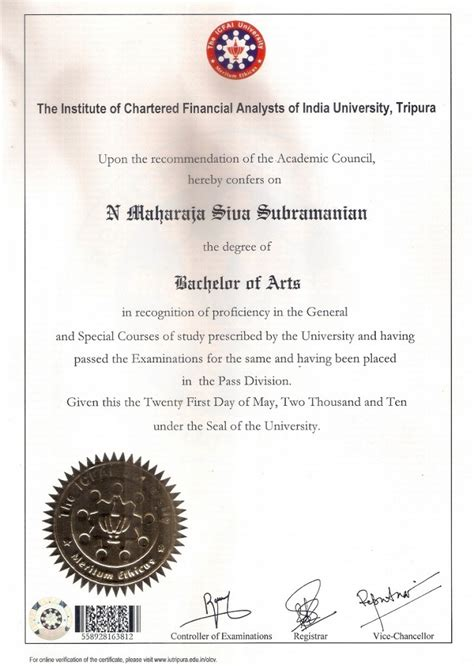 Free Mba Degree Certificate In India by Dr Maharaja Sivasubramanian N Certificate Of Degree Of