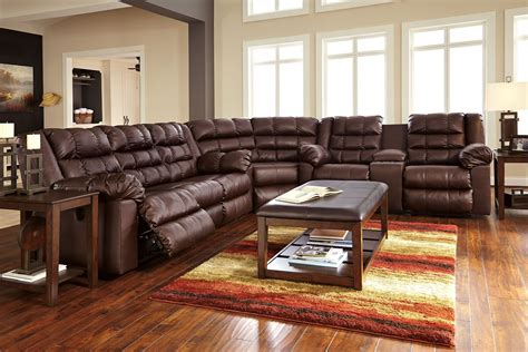 Furniture Sectional by Brolayne Durablend Brown Reclining Sectional From