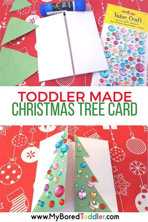 christmas crafts for 2 year olds toddler made tree card tree craft and