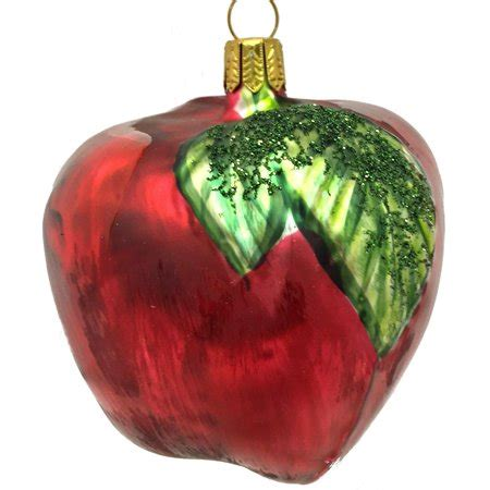 apple christmas tree ornaments apple with leaf fruit german blown glass tree ornament decoration walmart