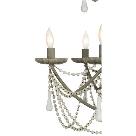 Country Chic Chandelier Bourdeilles Country White Beaded Rustic Chic Chandelier Kathy Kuo Home