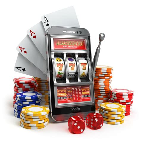 casino concept mobile phone slot machine dice  card stock illustration image