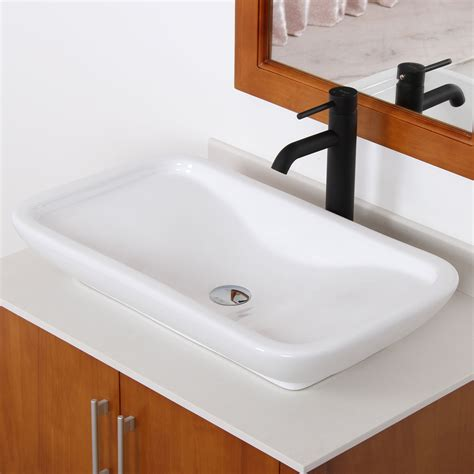 Kitchen Sink Shower Elite Ceramic Bathroom Sink With Unique Rectangle Design Tr40155 Bathroom Sinks Sink
