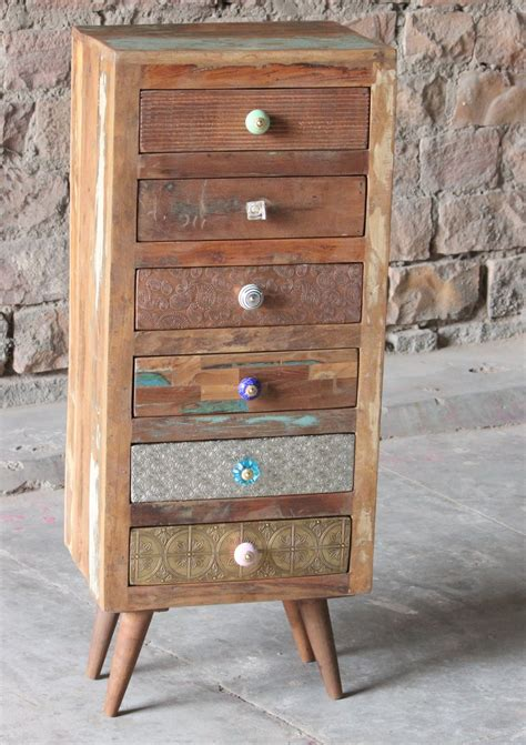 little tree furniture shimla eclectic 6 drawer multi chest shimla eclectic upcycled 6 multi drawer storage chest