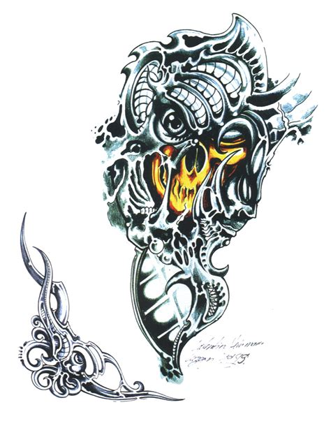biomechanical skull tattoo design bio mechanical tattoos