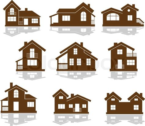 different styles of windows when building a house set of apartment house icons in brown and white showing different styles of building