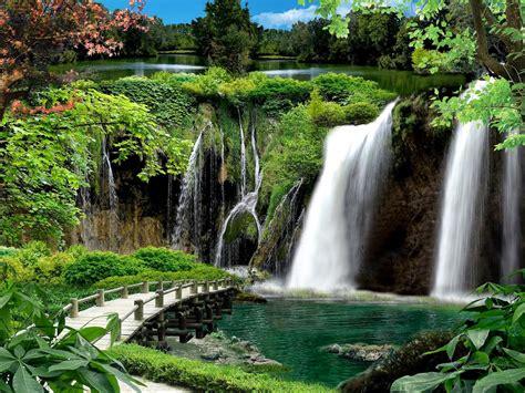 imagenes bonitas en paisajes fotofrontera cascada de agua turquesa con flores hermosas