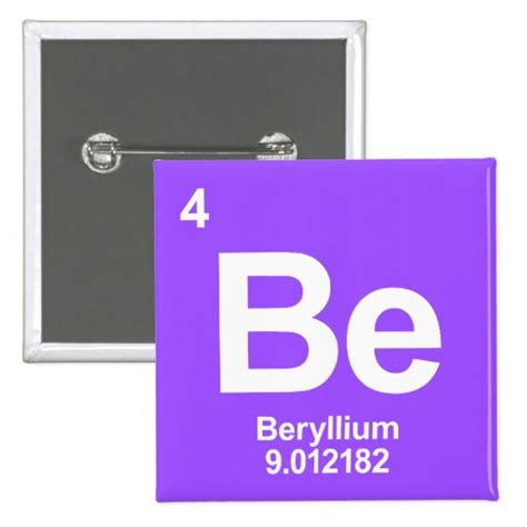 be beryllium periodic table element buttons zazzle