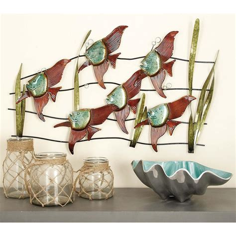 tropical fish home decor 35 in x 23 in coastal inspired multicolored metal