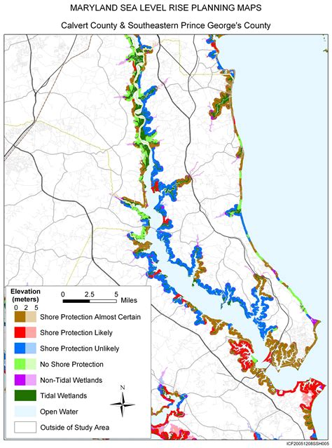 map of calvert county md sea level rise planning maps