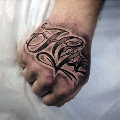 hand tattoos for men words 40 tattoos for four letter word design ideas
