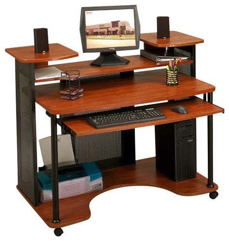 Desk And Computer Desks Studio Rta Wood Computer Desk In Black And Cherry Transitional Desks And Hutches By Cymax