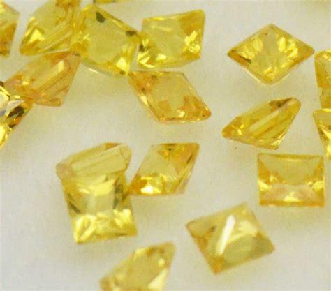 Yellow Sapphire 2 1ct 2mm yellow sapphire princess cut square gemstones