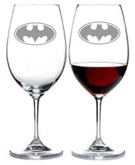 Batman Wine Glass Set Of 2 Sand Carved Etched By