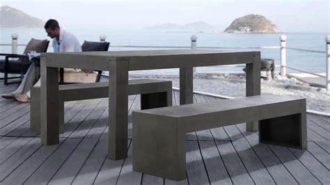 Beliani Meubles de jardin en béton   Table avec deux bancs