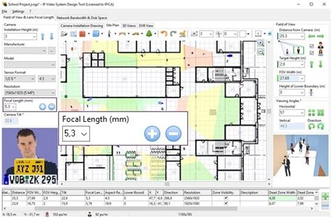cctv layout design software free focal length of a lens focal length calculator