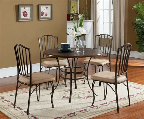 dining table and chairs set 5 pc set brand wood metal dining room