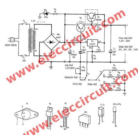 variable resistor vr1 3a adjustable voltage regulator using lm317 2n3055
