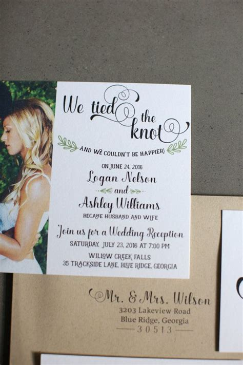 Wedding Reception Announcement by Wedding Reception Invitation We The Knot Elopement