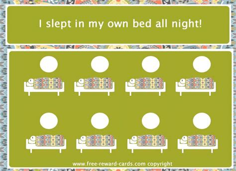 printable reward chart for staying in bed reward card sleep in own bed website