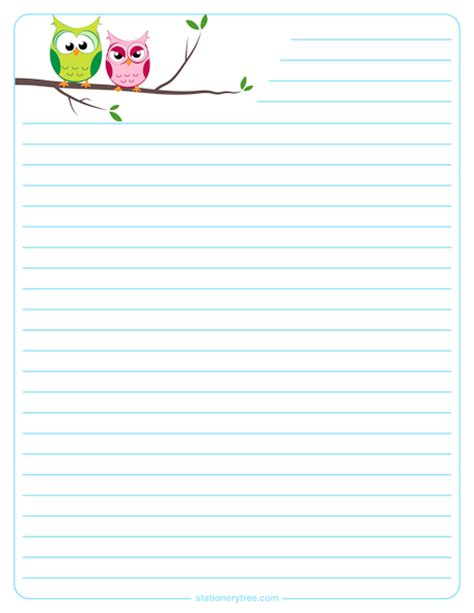 printable stationery note paper owl stationery and writing paper notes stationery