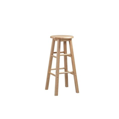 bar stools for home linon home decor 24 in round wood bar stool 98100nat 01