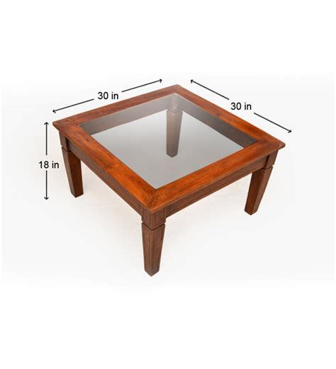 Attractive Glass Top Coffee Table In Mango Wood By Wood Coffee Table With Glass Top