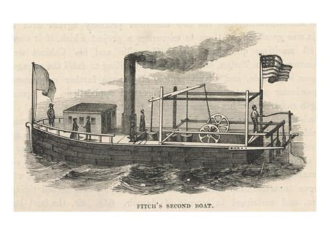 steamboat john fitch john fitch s second steamboat on the delaware river giclee