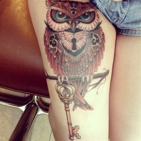 owl tattoo with key meaning 50 beautiful thigh tattoos for girls