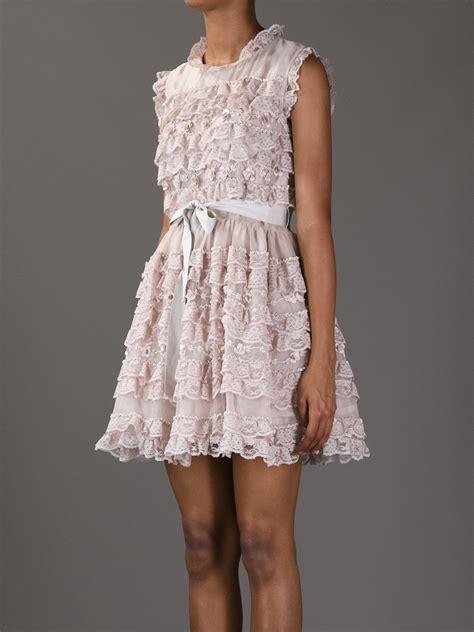 Ruffle Lace Dress lyst valentino ruffle lace dress in pink