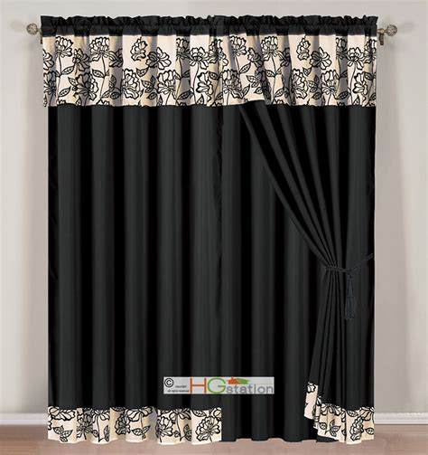 gothic style curtains 4 pc striped floral garden gothic curtain set black beige