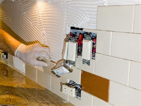 kitchen backsplash tile installation ceramic tile installation on kitchen backsplash 10 stock image image 13321289