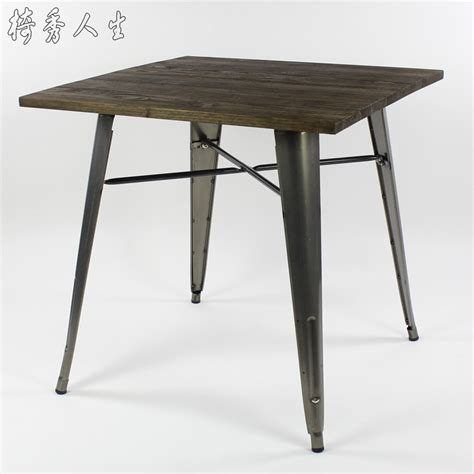 Antique Style Dining Table And Chairs Antique Vintage Industrial Loft Style Square Table Creative Coffee Wood And Metal Table
