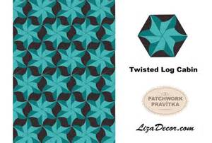 patchworkov 225 紂ablona twisted log cabin rulers