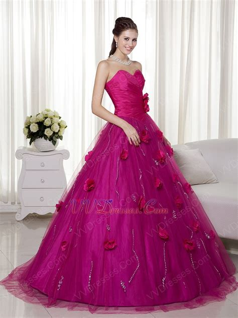 fuchsia color dress fuchsia a line trimed prom gowns with made flowers