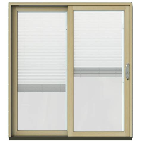 Wooden Blinds For Patio Doors Jeld Wen 71 1 4 In X 79 1 2 In W 2500 Black Prehung Left Clad Wood Sliding Patio Door