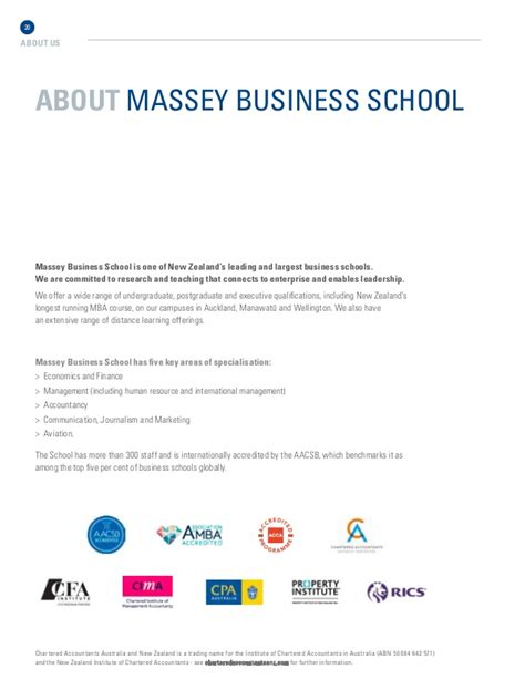 Massey School Of Business Mba by Brochure Massey Business School