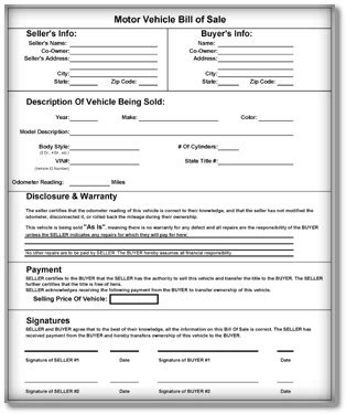 Vehicle Bill Of Sale Templates 6 Download Free Sle Form Formats In Word Pdf Microsoft Bill Of Sale Template