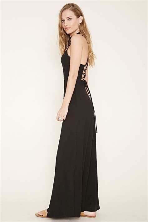 dress pattern lace up back lyst forever 21 lace up back maxi dress in black