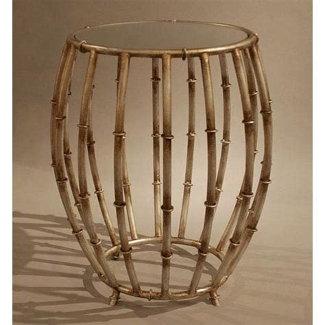 drum accent table dessau home antique silver bamboo drum accent table with