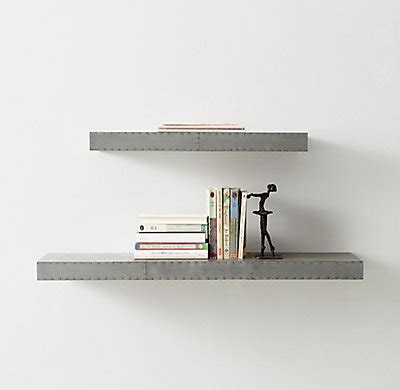 industrial metal wrapped floating shelf pewter