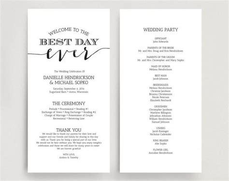 Wedding Programs Wedding Program Instant Download Wedding Program Printable Template Instant One Page Wedding Program Template 2