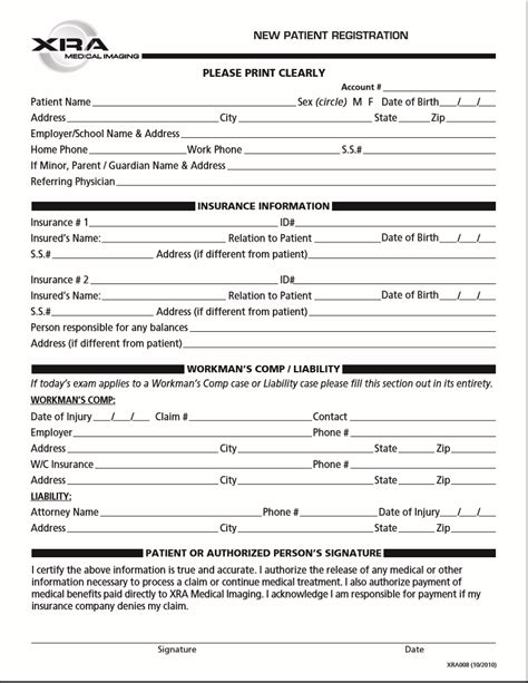 Xra Medical Imaging New Patient Forms New Patient Forms Templates